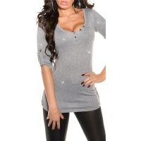 NOBLE LADIES SWEATER WITH GLITTER AND GATHERED SLEEVES GREY