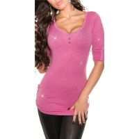 NOBLE LADIES SWEATER WITH GLITTER AND GATHERED SLEEVES PINK