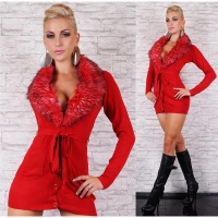 NOBLE FINE-KNITTED CARDIGAN WITH FAKE FUR COLLAR RED