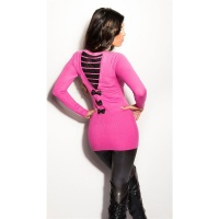 PRECIOUS FINE-KNITTED LONG SWEATER WITH CHIFFON AND RHINESTONES FUCHSIA