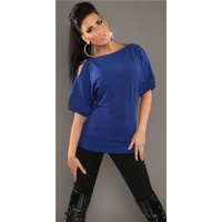 NOBLE FINE-KNITTED LONG SWEATER WITH HALF-LENGTH SLEEVES ROYAL BLUE