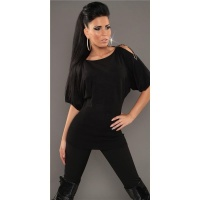 NOBLE FINE-KNITTED LONG SWEATER WITH HALF-LENGTH SLEEVES BLACK Onesize (UK 8,10,12)