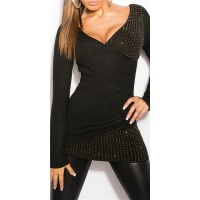 NOBLE FINE-KNITTED SWEATER IN WRAP LOOK WITH METAL BEADS BLACK Onesize (UK 8,10,12)
