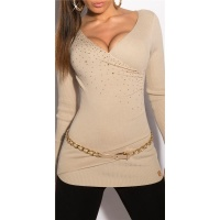 PRECIOUS FINE-KNITTED SWEATER WITH RHINESTONES BEIGE