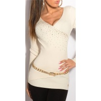 EDLER FEINSTRICK-PULLOVER IN WICKEL-OPTIK MIT STRASS CREME