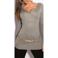 PRECIOUS FINE-KNITTED SWEATER WITH RHINESTONES GREY
