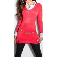 DIVINE FINE-KNITTED LONG SWEATER JUMPER WITH BLOUSE INSET CORAL