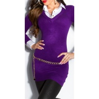 DIVINE FINE-KNITTED LONG SWEATER JUMPER WITH BLOUSE INSET PURPLE