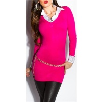 DIVINE FINE-KNITTED LONG SWEATER JUMPER WITH BLOUSE INSET...