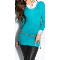DIVINE FINE-KNITTED LONG SWEATER JUMPER WITH BLOUSE INSET SAPPHIRE
