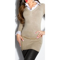 DIVINE FINE-KNITTED LONG SWEATER JUMPER WITH BLOUSE INSET TAUPE