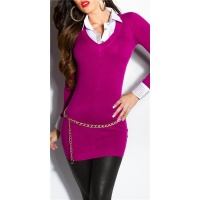 DIVINE FINE-KNITTED LONG SWEATER JUMPER WITH BLOUSE INSET VIOLET