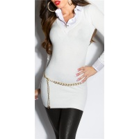 DIVINE FINE-KNITTED LONG SWEATER JUMPER WITH BLOUSE INSET WHITE