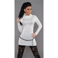 SEXY FINE-KNITTED POLO-NECK LONG SWEATER WITH RHINESTONES WHITE