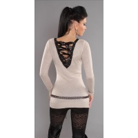 ELEGANT FINE-KNITTED SWEATER LONG SWEATER WITH LACING GLITTER BEIGE