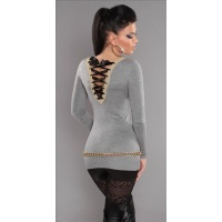 ELEGANT FINE-KNITTED SWEATER LONG SWEATER WITH LACING GLITTER GREY Onesize (UK 8,10,12)