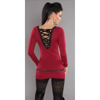 ELEGANT FINE-KNITTED SWEATER LONG SWEATER WITH LACING GLITTER RED Onesize (UK 8,10,12)