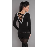 ELEGANT FINE-KNITTED SWEATER LONG SWEATER WITH LACING GLITTER BLACK Onesize (UK 8,10,12)