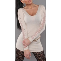 ELEGANT FINE-KNITTED SWEATER LONG SWEATER WITH LACE BEIGE Onesize (UK 8,10,12)
