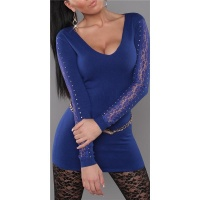 ELEGANT FINE-KNITTED SWEATER LONG SWEATER WITH LACE ROYAL BLUE Onesize (UK 8,10,12)