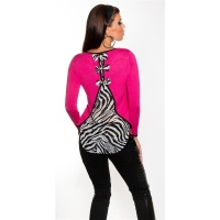 NOBLE FINE-KNITTED SWEATER WITH CHIFFON AND BOWS FUCHSIA