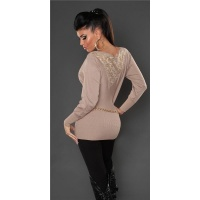 NOBLE FINE-KNITTED SWEATER WITH LACE AND RIVETS BEIGE