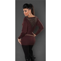 NOBLE FINE-KNITTED SWEATER WITH LACE AND RIVETS BROWN