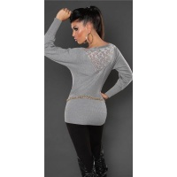 NOBLE FINE-KNITTED SWEATER WITH LACE AND RIVETS GREY