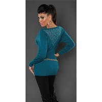 NOBLE FINE-KNITTED SWEATER WITH LACE AND RIVETS PETROL