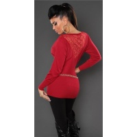 NOBLE FINE-KNITTED SWEATER WITH LACE AND RIVETS RED