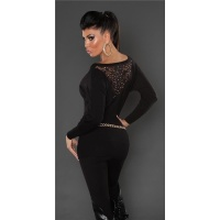 NOBLE FINE-KNITTED SWEATER WITH LACE AND RIVETS BLACK