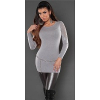 NOBLE FINE-KNITTED SWEATER WITH LACE AND RHINESTONES GREY