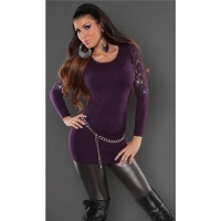 NOBLE FINE-KNITTED SWEATER WITH LACE AND RHINESTONES PURPLE