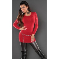 NOBLE FINE-KNITTED SWEATER WITH LACE AND RHINESTONES RED
