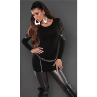 NOBLE FINE-KNITTED SWEATER WITH LACE AND RHINESTONES BLACK Onesize (UK 8,10,12)