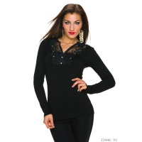 ELEGANT FINE-KNITTED SWEATER WITH LACE AND RHINESTONES BLACK