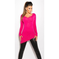 PRECIOUS FINE-KNITTED SWEATER WITH RHINESTONES AND RIVETS FUCHSIA