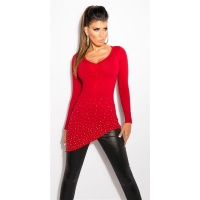 PRECIOUS FINE-KNITTED SWEATER WITH RHINESTONES AND RIVETS RED