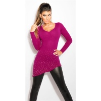 PRECIOUS FINE-KNITTED SWEATER WITH RHINESTONES AND RIVETS VIOLET