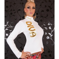 PRECIOUS FUNKY DIVA 2-WAY ZIP SWEATER WHITE/GOLD