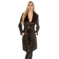 NOBLE STITCHED LADIES COAT IN LEATHER-LOOK WITH FAKE FUR BLACK