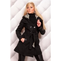 PRECIOUS SHORT COAT WITH HOOD BLACK/LEOPARD UK 14 (XL)