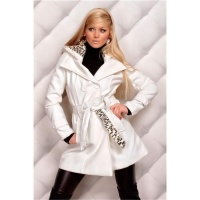 PRECIOUS SHORT COAT WITH HOOD WHITE/LEOPARD