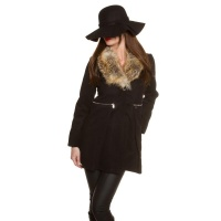 NOBLE SHORT COAT IN A-LINE WITH FAKE FUR COLLAR BLACK