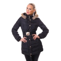 NOBLE STITCHED SHORT COAT WINTER JACKET WITH FAKE FUR BLACK
