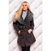 PRECIOUS LUXURY SHORT COAT WITH FAKE FUR DARK GREY UK 8 (S)