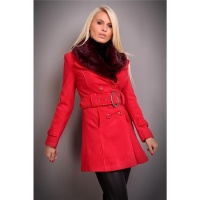 PRECIOUS LUXURY SHORT COAT WITH FAKE FUR RED UK 10 (M)