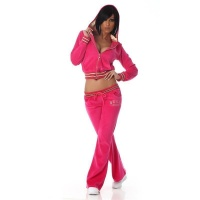 NOBLE NIKKI LEISURE SUIT JOGGING SUIT TRACKSUIT WITH HOOD FUCHSIA