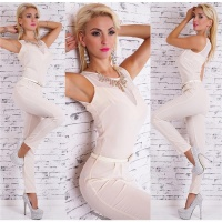 NOBLE OVERALL JUMPSUIT INCL. RHINESTONE NECKLACE AND BELT...
