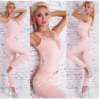 EDLER OVERALL JUMPSUIT INKL. STRASS-COLLIER UND G�RTEL ROSA